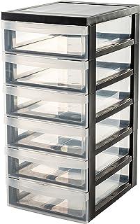 Iris Ohyama, armario de 6 cajones sobre ruedas - Design Chest - DC-360, plástico, negro / transparente, 42 L, 40 x 29 x 61,5 cm