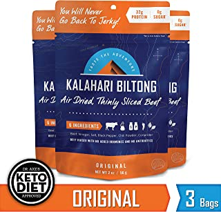 Kalahari Biltong | Air-Dried Thinly Sliced Beef | Original | 2oz (Pack Of 3) | Sugar Free | Keto & Paleo | Gluten Free | Better Than Jerky
