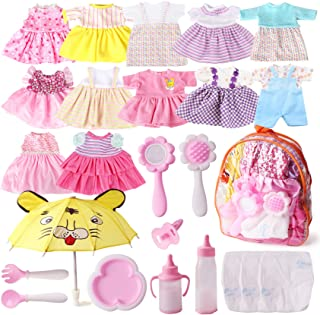 Fits 12'' 13'' 14'' 15'' Bitty Baby Girl Alive Doll Clothes Diapers 360°Sewing Dresses for American Girl Dolls with Doll Nappies, Umbrella, Milk Bottle, Nipple, and Doll Accessories Pack of 25 Bag Set