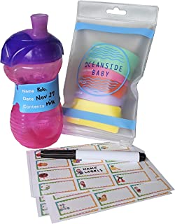 Baby Bottle Labels for Daycare, 6 Reusable Silicone Labels, 96 BONUS Waterproof Self-Laminating Write on Stickers - Assorted Sizes & Color, Includes 6 Silicone Labels, 96 Stickers & 1 Dry Erase Marke