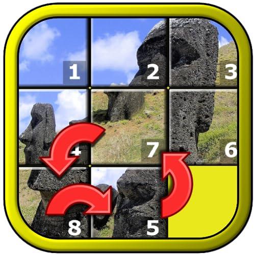 Mundo da criança Slide Puzzle - forma 15 praças místico reorganizando mosaico jogo para crianças mais velhas envelhecidas