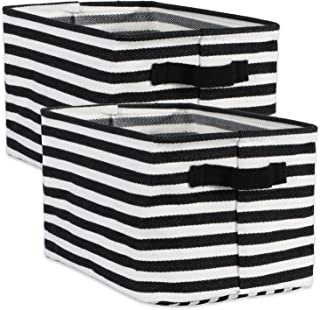 DII Cabana Stripe Collapsible Waterproof Coated Anti-mold Cotton Rectangle Basket Bin, Perfect For Laundry Room, Bedroom, ...