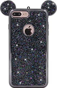 iPhone 7 Plus Case, MC Fashion Cute Sparkle Bling Glitter 3D Mouse Ears Soft and Protective TPU Rubber Case for iPhone 7 Plus (Black)