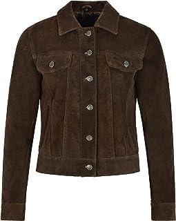 Carrie CH Hoxton Chaqueta de Cuero Real para Camionero para Mujer 100% Gamuza Camisa de Moda Informal Chaqueta 1680