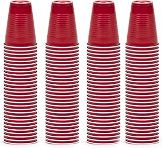 DecorRack 120 Party Cups, 12oz Reusable Disposable Soda Cups for Birthday Party, Bachelorette, Camping, Indoor Outdoor Events, Beverage Drinking Cups, Round -BPA Free- Plastic Cups, Red (120 Pack)