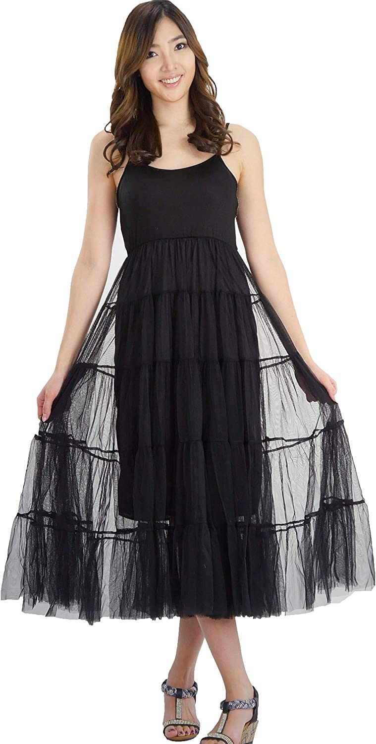 Women's Camisole High In a popularity Waist Slip Dress Adju Skirt Los Angeles Mall Tulle and with