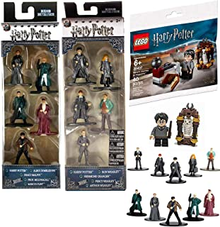 Jada Magical Wizards Harry Potter Mini Figure Brick Set Journey to Hogwarts Building with Hedwig + Bundled with Nano Metal Micro figs 10 Character Collectibles