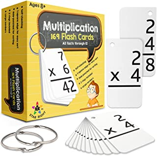 Star Right Multiplication with 2 Metal Binder Rings | 169 Self Checking Flashcards | for Ages 8 and Up
