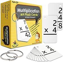 کارت های فلش ضرب آموزش درست ستاره ، 0-12 (همه حقایق ، 169 کارت) با 2 حلقه