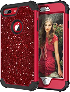 Hekodonk Compatible iPhone 8 Plus/7 Plus Case, Luxury Stars Sparkle Glitter Shiny Heavy Duty Shockproof Fullbody Protective High Impact Hybrid Cover for Apple iPhone 8 Plus/ 7 Plus (Bling Red)