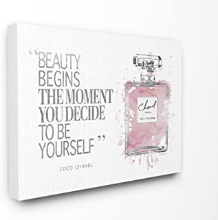 The Stupell Home Decor Collection Beauty Begins Fashion Perfume Stretched Canvas Wall Art, 16 x 20, Multicolor