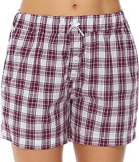 Damen kurze Schlafhose Pyjamashorts rosa Karomuster 100 /% Baumwolle S M L NEU