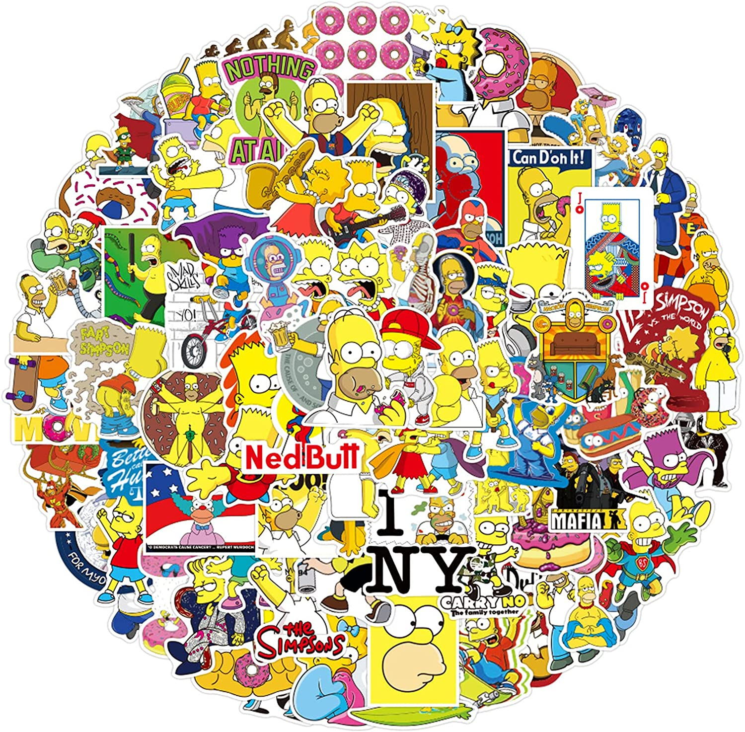 100PCS US Classic Animation The Simpsons Stickers for Laptop Water Bottle Luggage Snowboard Bicycle Skateboard Decal for Kids Teens Adult Waterproof Aesthetic Stickers (The Simpsons)