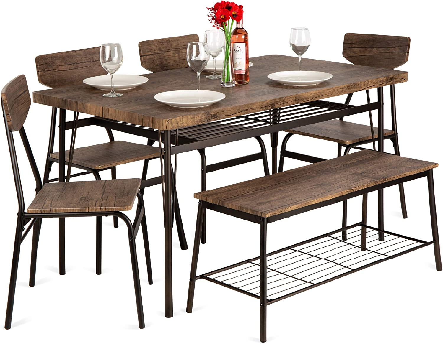 Best Choice Products 9 Piece 9in Wooden Modern Dining Set for Home,  Kitchen, Dining Room w/Storage Racks, Rectangular Table, Bench, 9 Chairs,  Steel ...