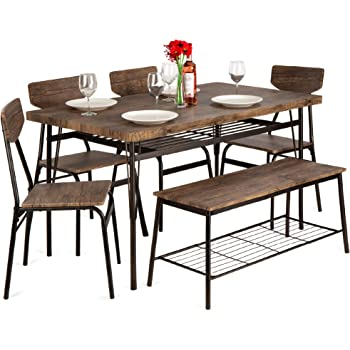 Amazon Com Best Choice Products 6 Piece 55in Wooden Modern Dining Set For Home Kitchen Dining Room W Storage Racks Rectangular Table Bench 4 Chairs Steel Frame Brown Table Chair Sets