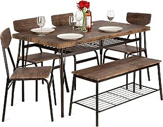 بهترین محصولات انتخابی 6 تکه 55 اینچ مجموعه ناهار خوری مدرن چوبی برای منزل ، آشپزخانه ، اتاق ناهار خوری w / قفسه های ذخیره سازی ، میز مستطیلی ، نیمکت ، 4 صندلی ، قاب فولادی - قهوه ای