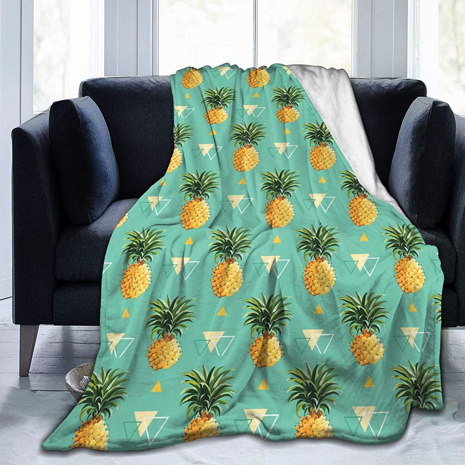 Yellow Pineapples Free shipping On A surprise price is realized Green Microfiber Flannel Blankets Lightwei