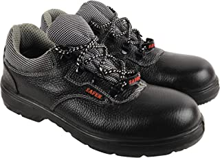 Aktion Safety Genuine Leather Shoes SA-203 - Size 6, Black
