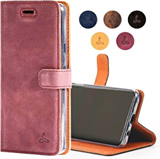 Snakehive Google Pixel 2 Case, Genuine Leather Wallet with Viewing Stand and Card Slots, Flip Cover Gift Boxed and Handmade in Europe for Google Pixel 2 - (Plum)