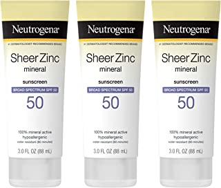 Neutrogena Sheer Zinc Oxide Dry-Touch Sunscreen Lotion with Broad Spectrum SPF 50 UVA/UVB Protection, Water-Resistant, Hyp...
