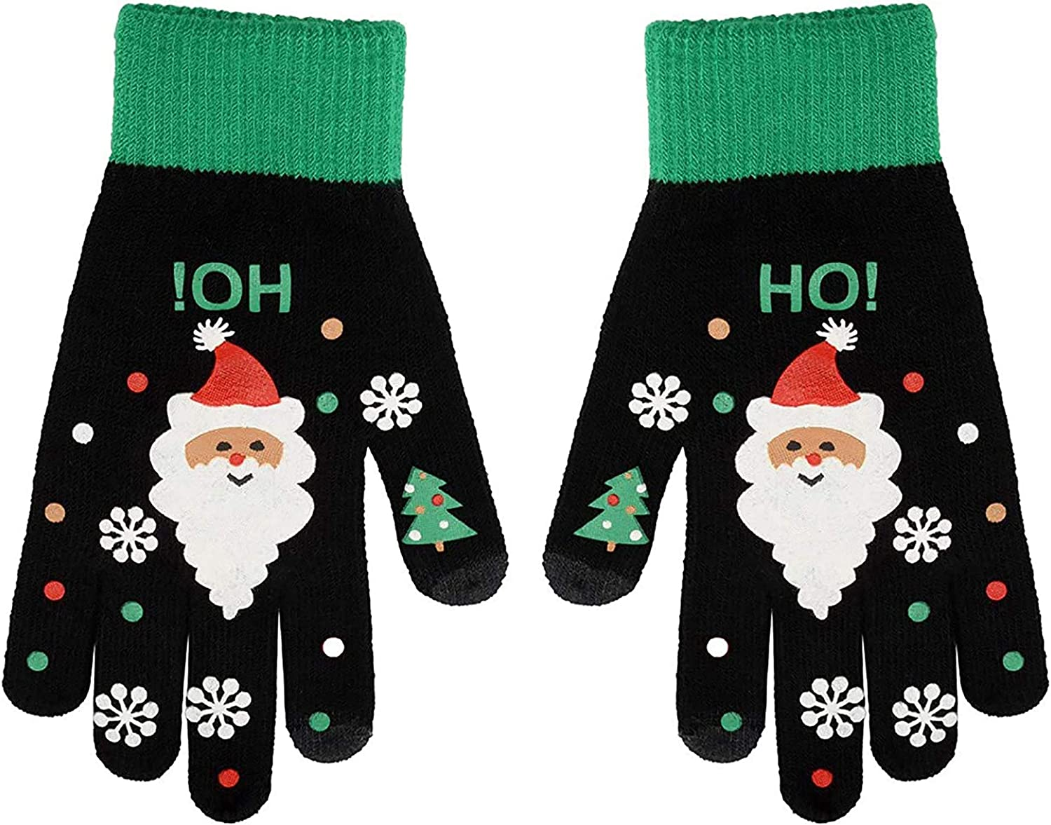 Christmas Knit Gloves Winter Touch Screen Warm Texting Gloves Deer Santa Knit Printing Xmas gifts for women
