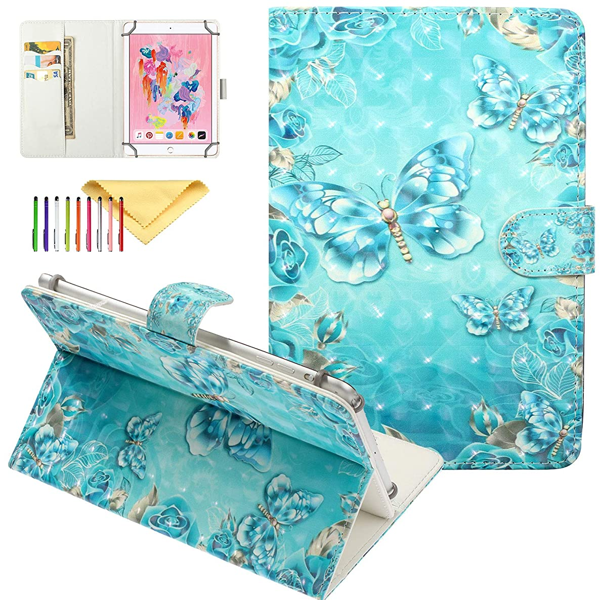 8 Inch Tablet Universal Case, Cookk Folio Stand Wallet Skin Case Cover for Samaung Galaxy Tab 8.0 Inch, iPad Mini 5/4/3/2/1 7.9 Inch Case and More 7.5-8.5 Inch Tablet, Diamond Butterfly