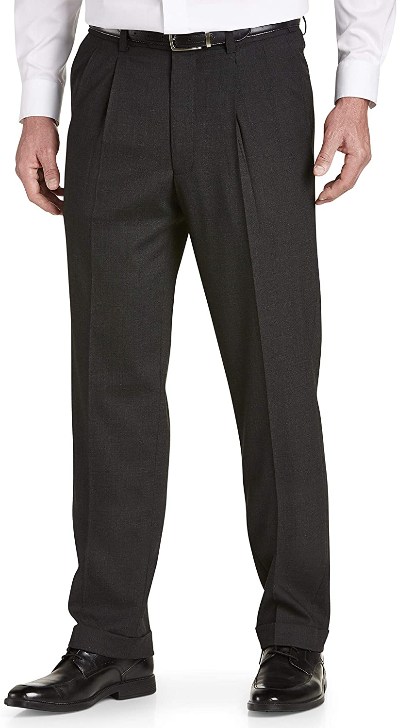 DXL Gold Series Big and Tall Waist-Relaxer Unfinished Pleated Suit Pants