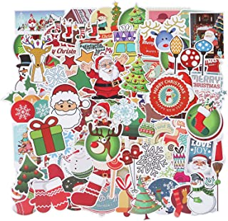 Roberly Christmas Stickers, 100 Pack Holiday Waterproof Vinyl Skateboard Stickers Laptop Decals Gift Card Stickers for Water Bottle DIY Christmas Decoration