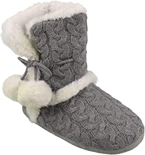 Chinese Laundry Ladies POM POM Plush & Knit Slipper Boot