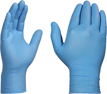 AMMEX Blue Nitrile Exam 4 Mil Disposable Gloves - Exam Grade, Powder-Free, Textured, Non-Sterile, Medium, Box of 100