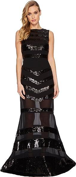 Nicole Miller - Striped Mix Sequin V-Back Gown