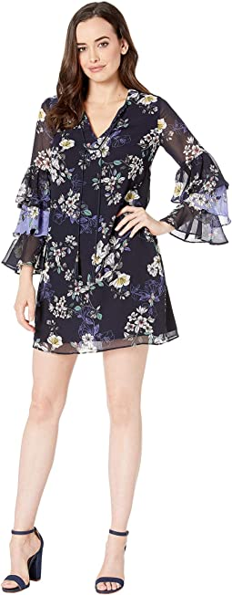 Printed Chiffon Float Dress with Tiered Sleeve