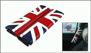 Cuztom Tuning Fits for 2002-2019 Mini Cooper Leather Union Jack UK Flag Logo Comfort Seatbelt Shoulder Pad X 2