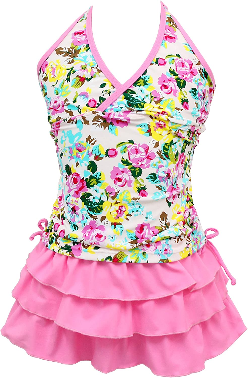 Qyqkfly Girls' 2 Piece 4Y-15Y Florence Adjustable Tankini Swimsuit (FBA) (Small(8) Pink)