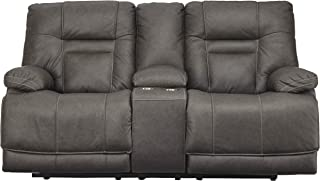 Signature Design by Ashley Wurstrow Power Reclining Loveseat with Console, Smoke