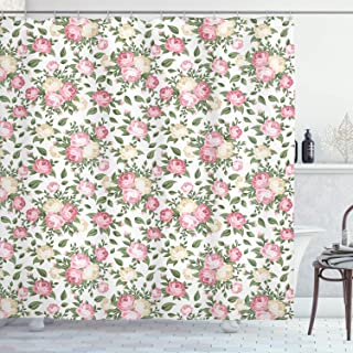 Ambesonne House Decor Collection, Roses Rosebuds Leaves Bouquet Flower Arrangements Bridal Victorian Style, Polyester Fabric Bathroom Shower Curtain, 75 Inches Long, Pink Green Ivory White