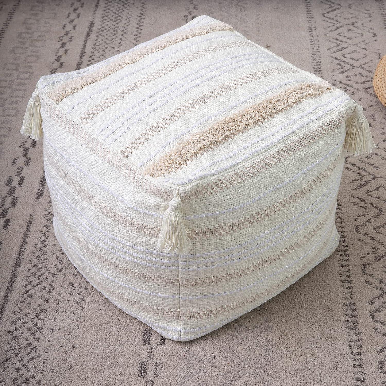 Boho Direct store Neutral Decorative Square Unstuffed Braided Handwove Pouf - Max 40% OFF