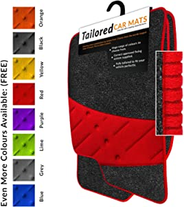 Fully Tailored Car Mats Weld Wide Heel Pad Anthracite Carpet Red Ribbed Trim Red Heel Pad Car Mats