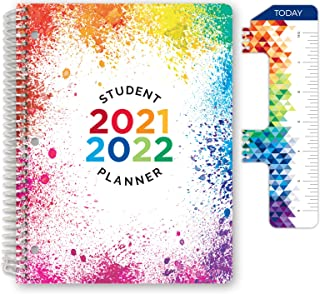 """Dated Elementary Student Planner for Academic Year 2021-2022 (Block Style - 8.5""""x11"""" - Paint Splatter) - Includes Ruler/Bo..."""