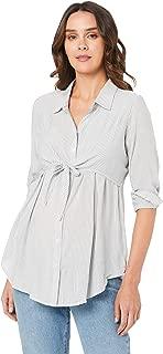 Ripe Maternity Women's James Tie Up Shirt, Grey/White
