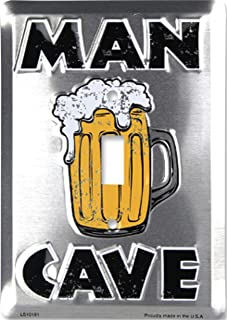 Man Cave Light Switch Plate Cover Metal with Screws
