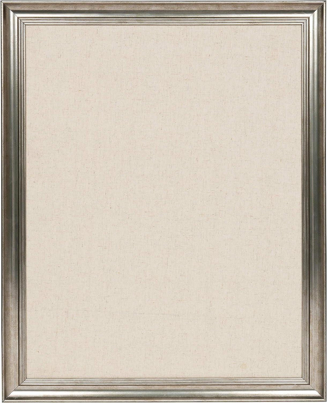 DesignOvation Macon Framed Linen Fabric Pinboard, 23x29, Pewter