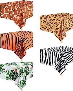 5 Pieces Animal Safari Tablecloth Jungle Animal Theme Tablecover Leopard Tiger Zebra Giraffe Print Table Cover Tropical Le...