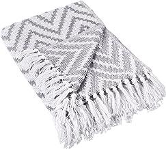 DII Rustic Farmhouse Cotton Chevron Blanket Throw with Fringe for Chair, Large Chevron Gray, Large Chevron