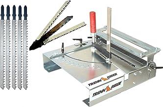 Sierra de calar, mesa de separación de Biber 012LK Bundle-3 + hojas de sierra de Metabo Bosch Festool + 5 hojas largas de sierra de calar para sierra de calar, mesa de sierra, para cortar laminado