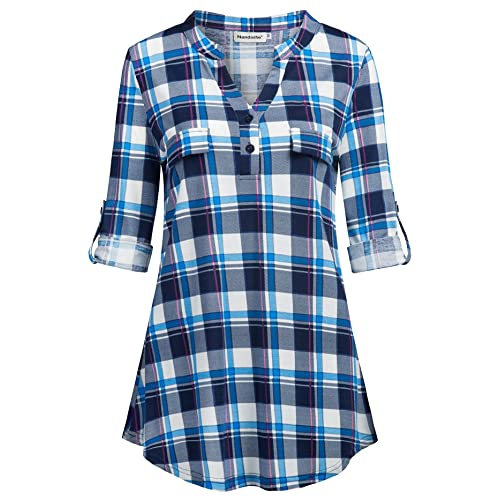 Students Blouse Short Sleeve Loose Plaid V-neck Doll Women Shirts Summer Tops Blouses & Shirts
