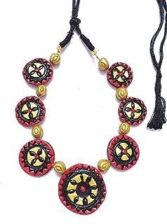 Red Terracotta Jewellery,Black Terracotta Chain,red with Black Terracotta Necklace with Floral Design