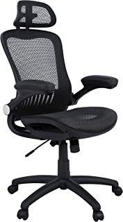 AmazonBasics - Adjustable High-Back Mesh Chair with Flip-Up Arms and Head Rest - Black, BIFMA Certified