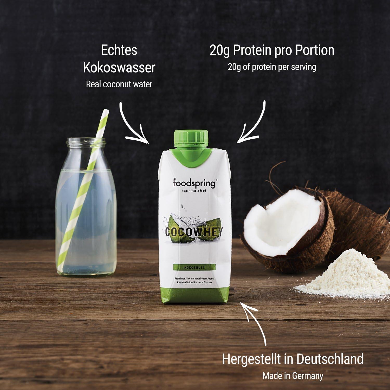 foodspring CocoWhey en pack de 12 x 330ml, Piña, La bebida ...
