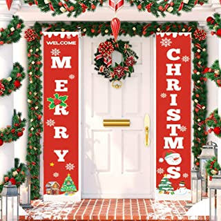 TOPLEE Merry Christmas Banner, 2019 Upgraded Merry Christmas Porch Sign Xmas Couplet for Christmas Decoration Outdoor Indo...